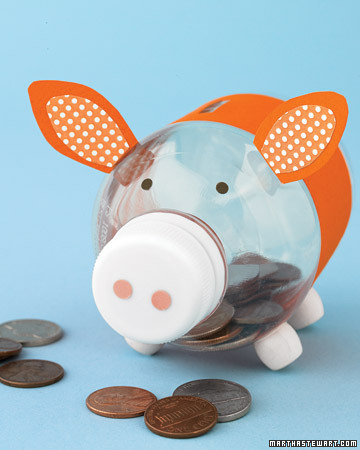 Make a Piggy Money Bank from Plastic Bottle