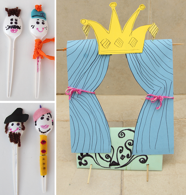 Spoon Puppet Theater Kid's Craft