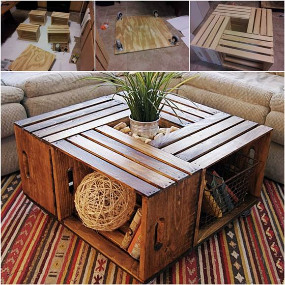 How to diy coffee table from recycled wine crates for How to build a wooden table from scratch