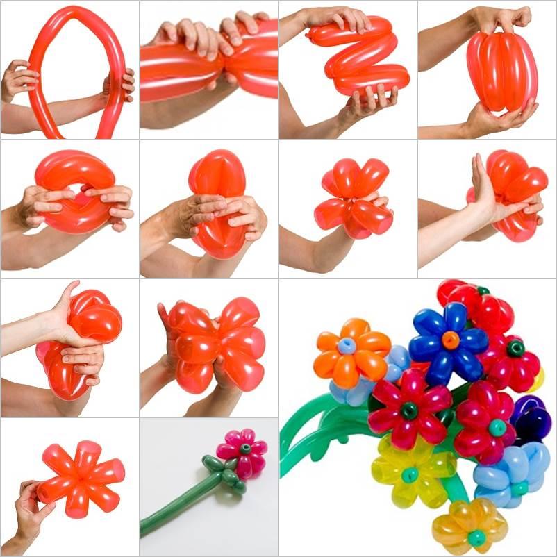 Цветы из шариков колбасок