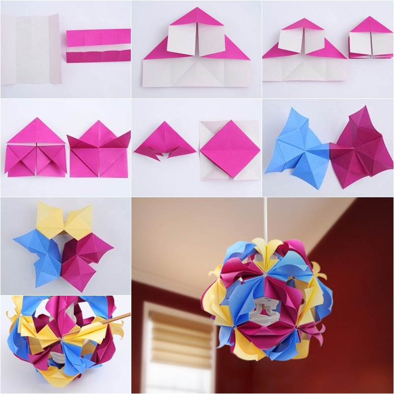 How to diy beautiful origami paper lantern for Diy paper origami