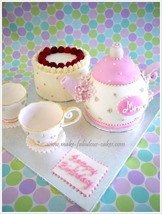 Tea Pot Shaped Birthday Cakes