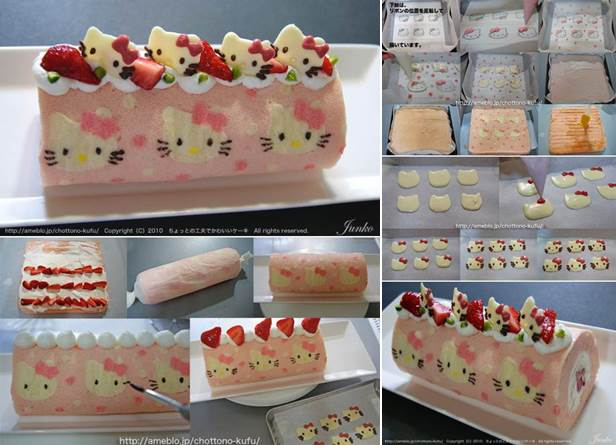 Roll Cake Design Template : How to DIY Cute Hello Kitty Swiss Roll