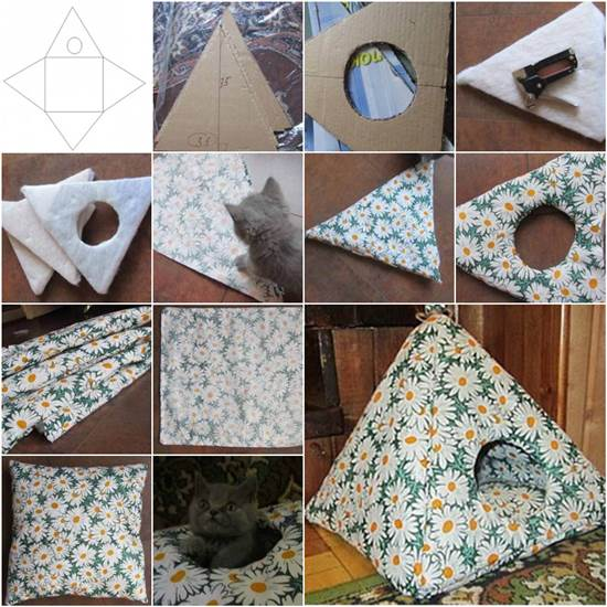 How to DIY Easy Cardboard Cat Tent