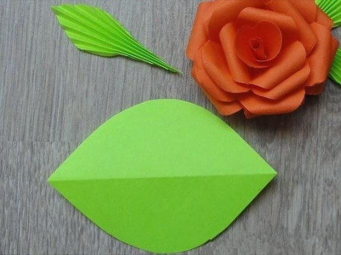 Как сделать листья из бумаги для больших цветов