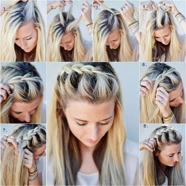 Простые прически с косами на средние волосы