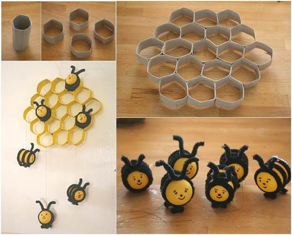 How to diy lovely beehive and bees decoration from toilet for Bee decorations for the home