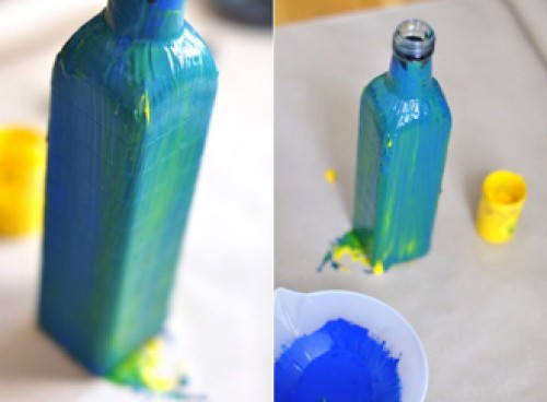 How to diy nice vase from recycled glass bottle for Can acrylic paint be used on glass bottles
