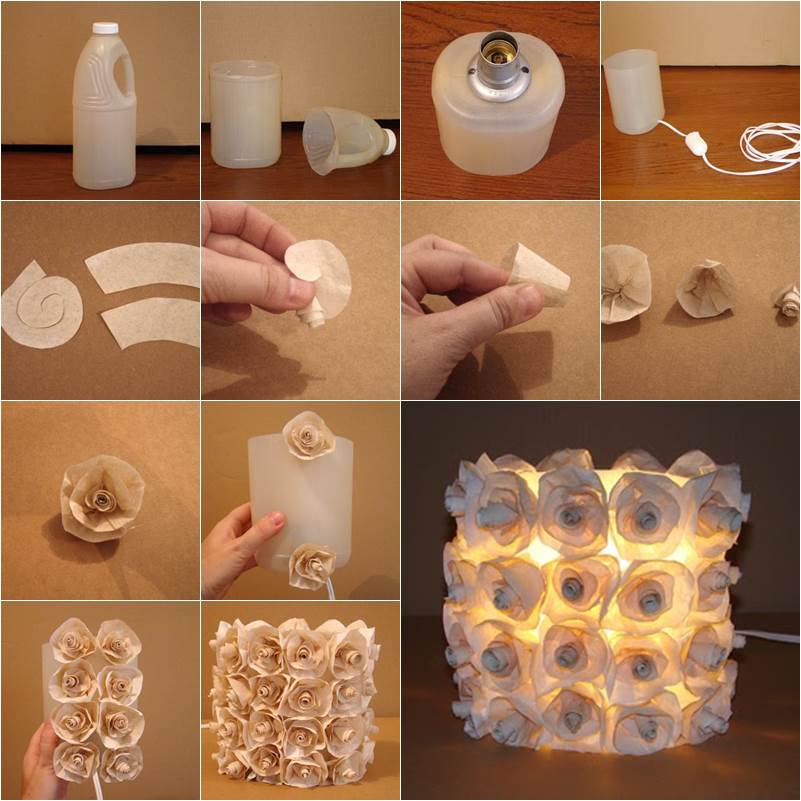 How to diy plastic bottle rose lamp for Creative lamp ideas to make at home