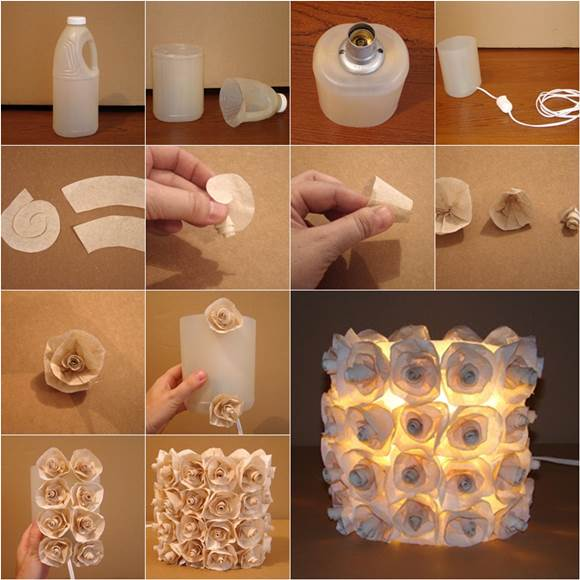 Diy creative plastic bottle cap lamp for Diy recycled plastic bottles