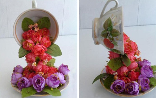 Topiary Flower Flying Cup Decor