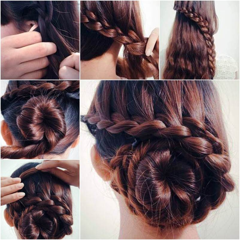 Magnificent How To Diy Waterfall Braided Bun Hairstyle Hairstyles For Men Maxibearus