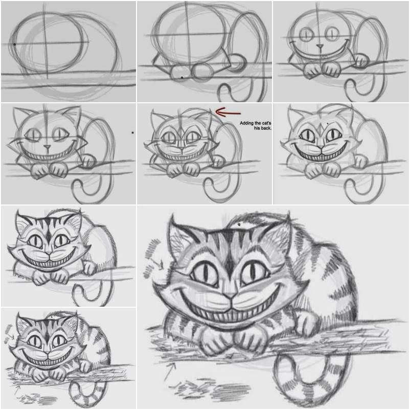 Как нарисовать кота чеширского поэтапно