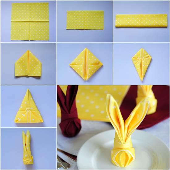 How to fold bunny napkin diy tutorial - Fold bunny shaped napkin ...
