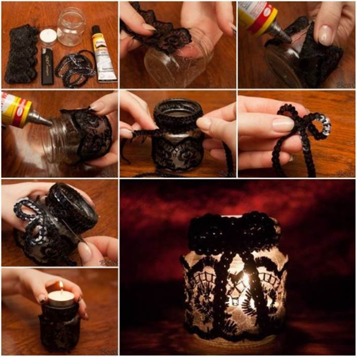 52 Spectacular Diy Christmas Decorations You Must Try This: How To Make A Romantic DIY Lace Decorated Candle Holder