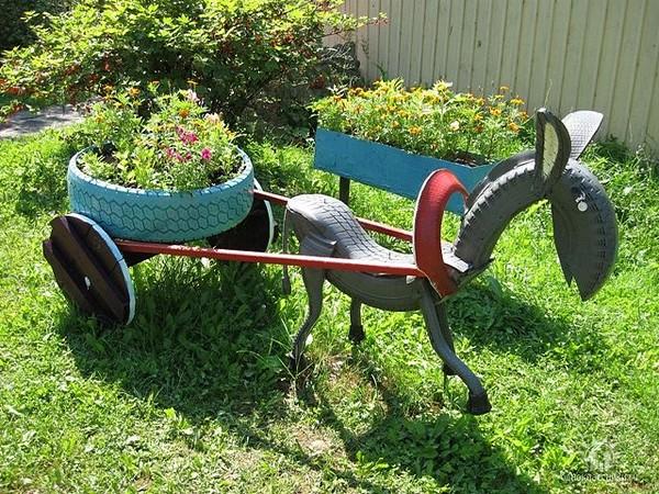 40+ Creative DIY Ideas to Repurpose Old Tire into Animal Shaped Garden Decor --> Tire Donkey