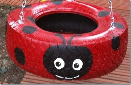 40+ Creative DIY Ideas to Repurpose Old Tire into Animal Shaped Garden Decor --> Tire Ladybug