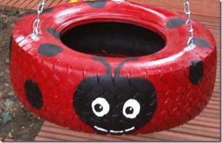 40+ Creative DIY Ideas to Repurpose Old Tire into Animal Shaped Garden Decor --> Tire Ladybug