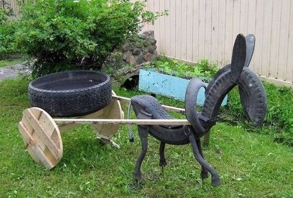 40+ Creative DIY Ideas to Repurpose Old Tire into Animal Shaped Garden Decor --> Tire Horse