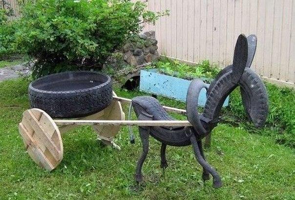 40+ Creative DIY Ideas to Repurpose Old Tire into Animal Shaped Garden Decor --> Tire Horse