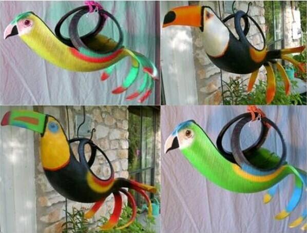 40+ Creative DIY Ideas to Repurpose Old Tire into Animal Shaped Garden Decor --> Tire Birds