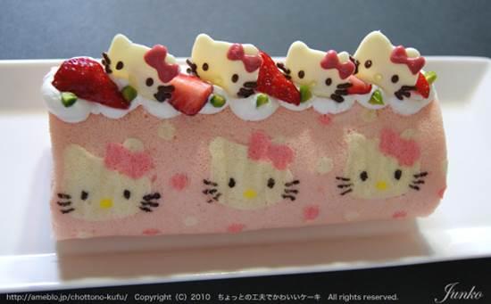How To DIY Cute Hello Kitty Swiss Roll   ICreativeIdeas.com