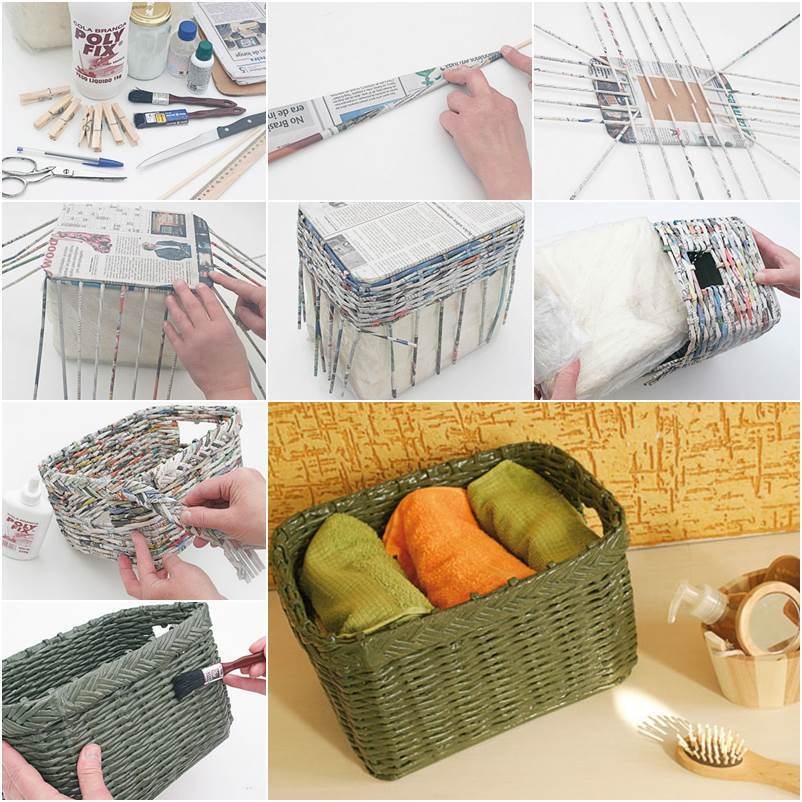How To Weave A Basket From Old Newspaper : Diy how to weave a storage basket from old newspaper