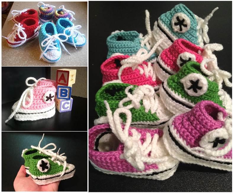How To Make Cute Crochet Baby Sneakers Icreativeideas Com