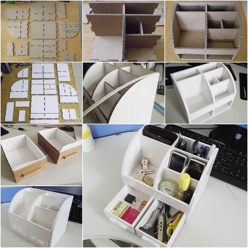 Как сделать органайзер для канцелярии из картона