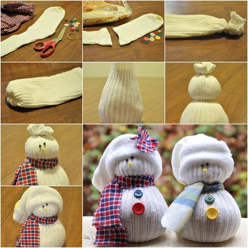 Creative ideas diy easy no sew sock snowman for How to make a snowman