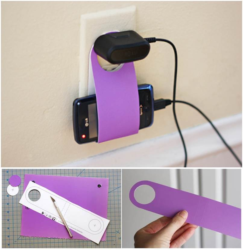 How to diy easy cardboard cell phone charging holder - Phone charging furniture the future in your home ...