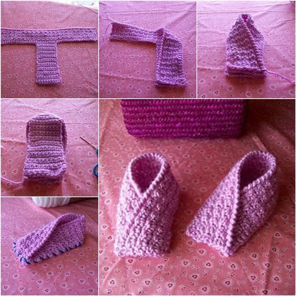 Baby Kimono Booties Knitting Pattern : DIY Adorable Knitted Baby Booties iCreativeIdeas.com