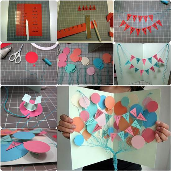 how to diy creative happy birthday banner and balloon card, Birthday card