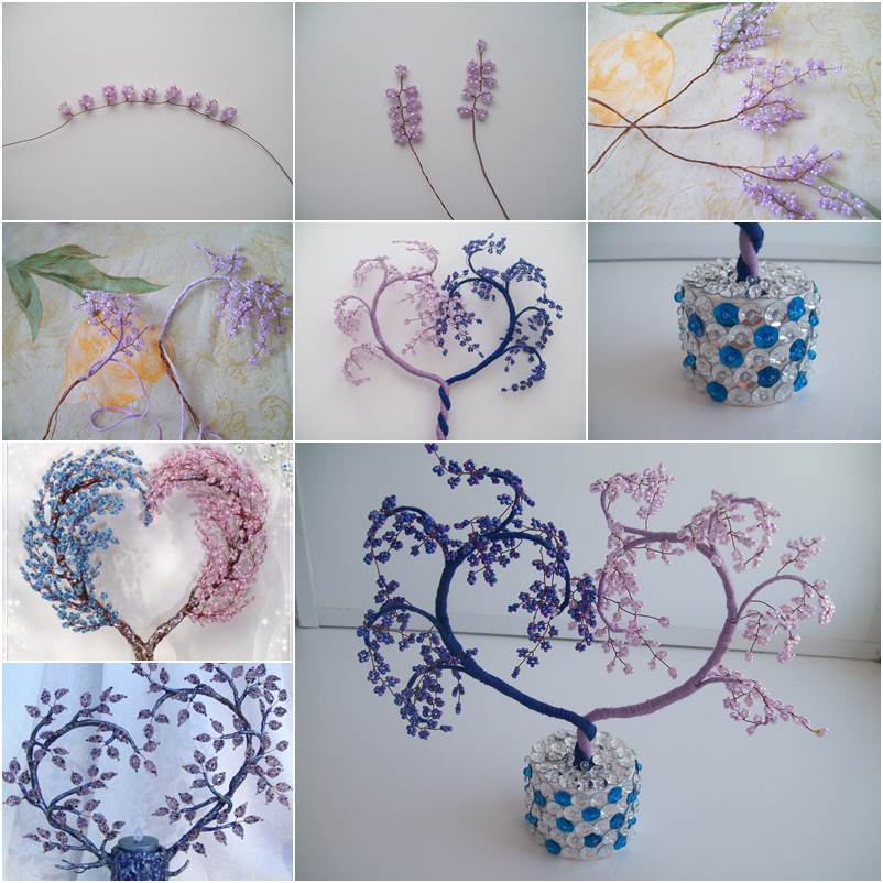 How to diy heart shaped beaded decorative tree for How to make beads craft