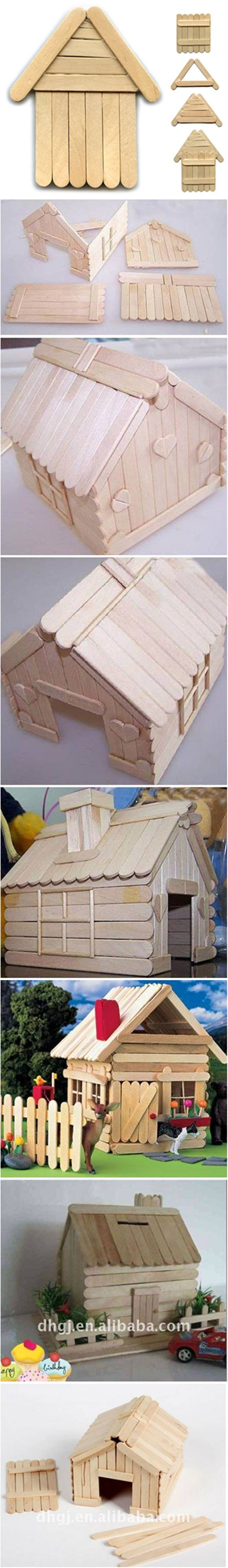 How to diy popsicle stick house for Popsicle stick creations ideas