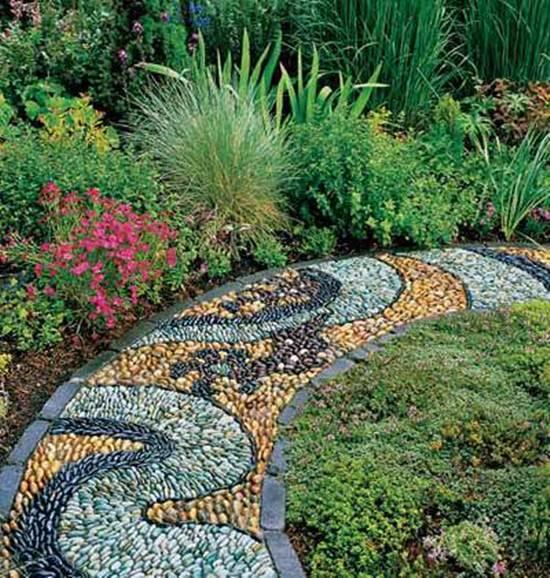 how to diy spiral mosaic stone garden path