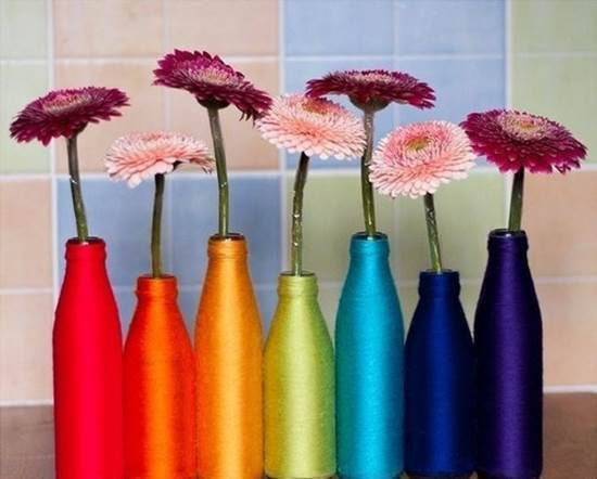 How to DIY Yarn Decorated Flower Vase 9