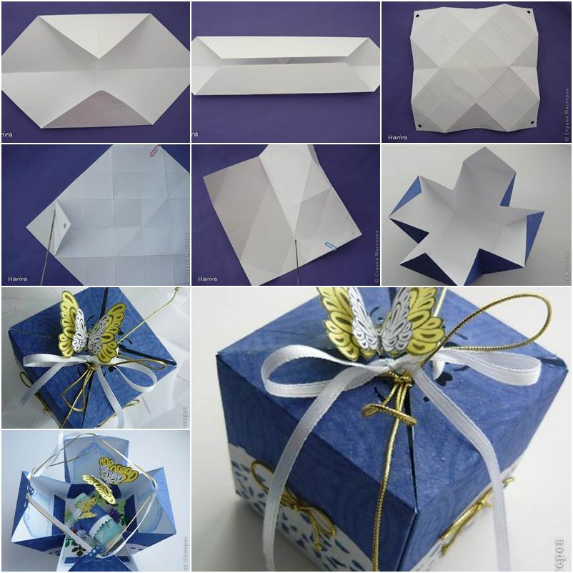 Diy pretty origami gift box for Diy paper origami