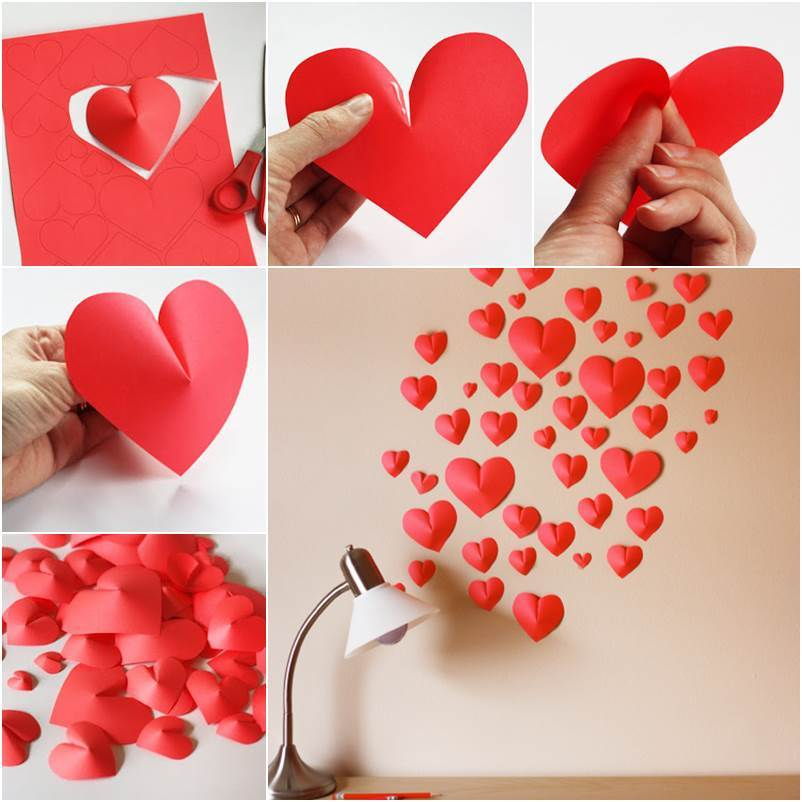 How to diy creative paper hearts wall decor for Creative craft ideas with paper