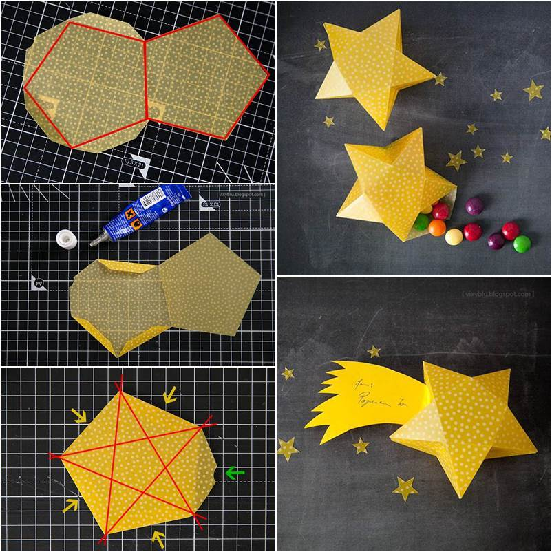 How to diy cute simple 3d paper star gift box for How to make 3d paper stars easy