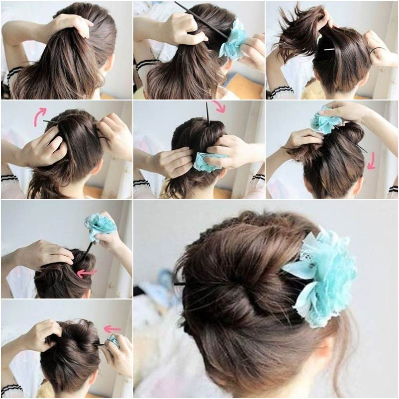 Stupendous How To Diy Easy Bun Hairstyle Using Chopstick Short Hairstyles Gunalazisus