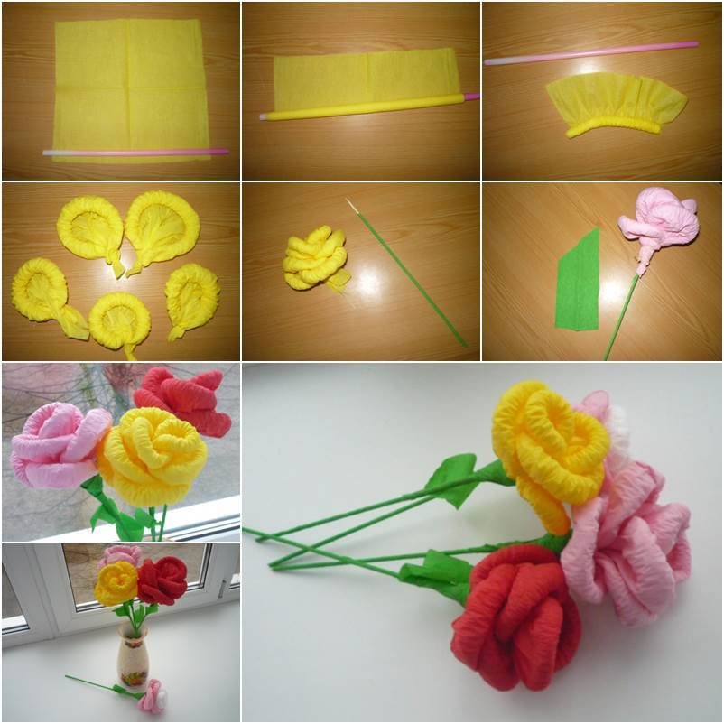How to make easy flower with tissue paper best image of flower how to make tissue paper flowers by gallery flower mightylinksfo