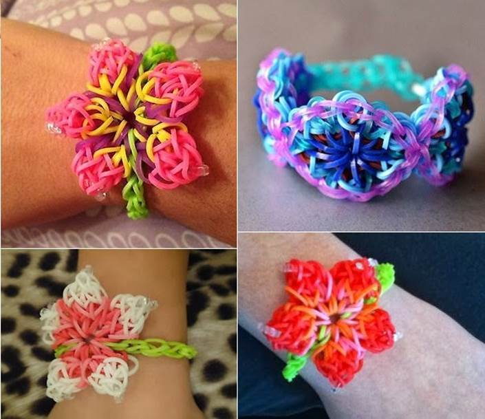 Плетения резинками браслет цветочками