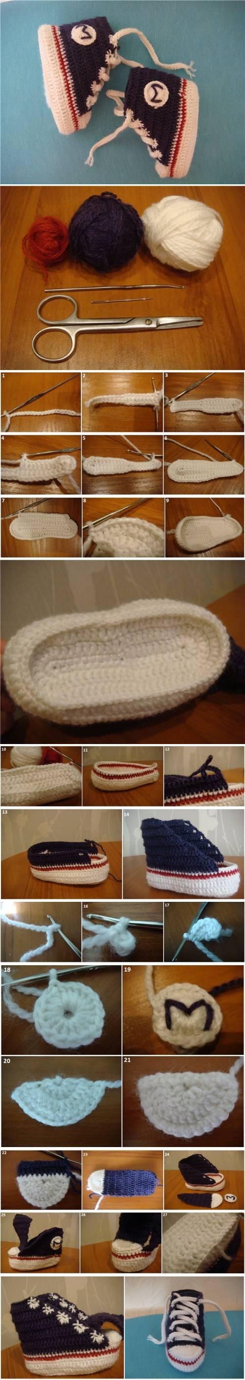How to DIY Sneaker Style Crochet Baby Booties 0