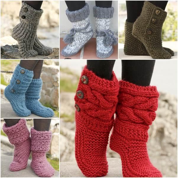 Stylish Knitting Patterns : 6 Stylish Knitted and Crochet Slipper Boots FREE Patterns