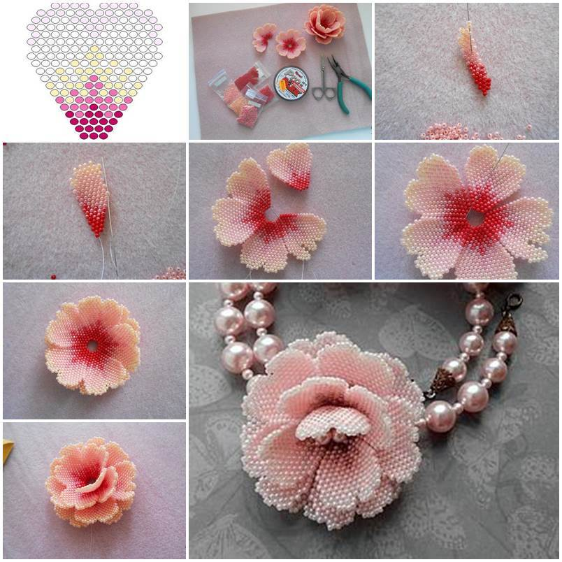 Creative ideas diy beautiful small beaded flowers for Small flowers for crafts