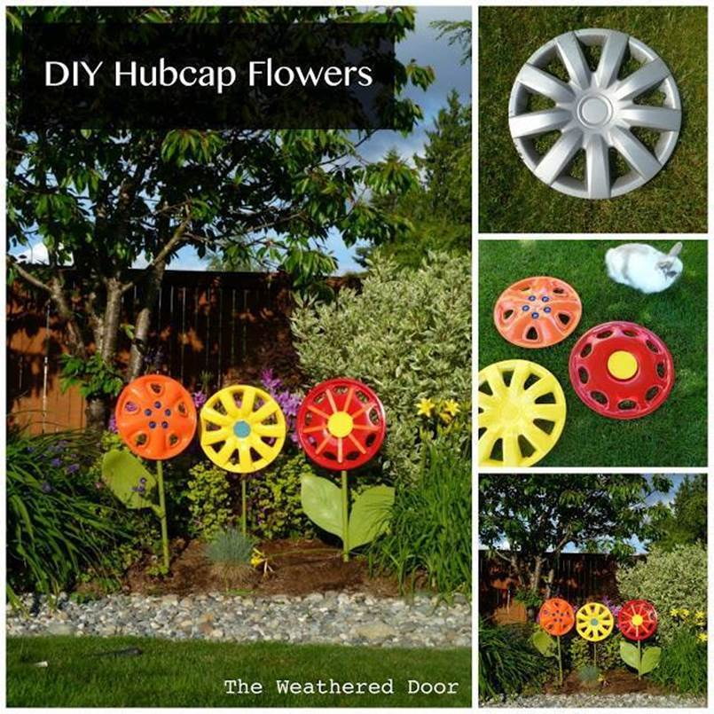 Creative ideas diy hubcap flower garden decor for Creative ideas for garden decoration