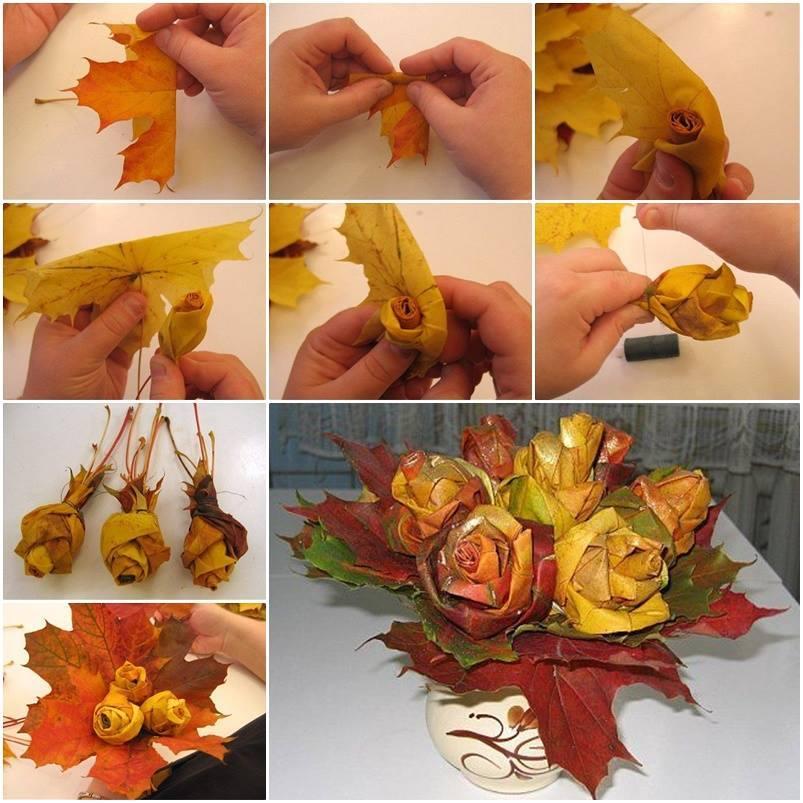 Как сделать поделку цветов из листьев