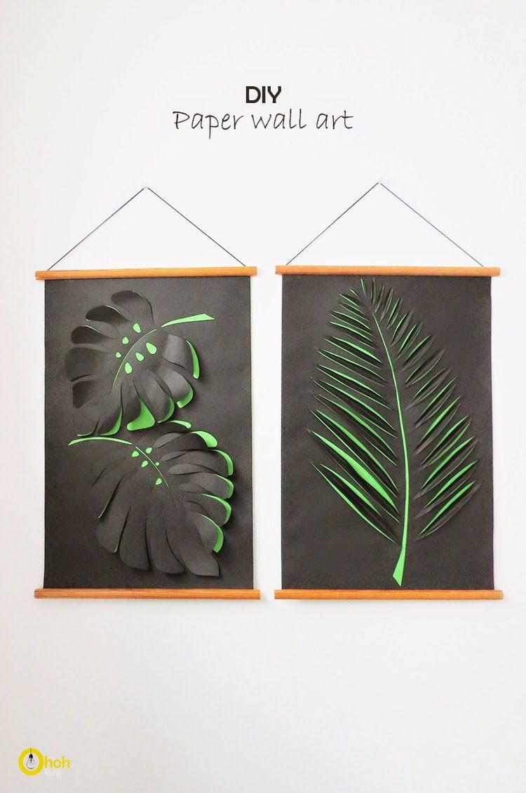 Diy Wall Art Drawing : Creative ideas diy paper leaf wall art