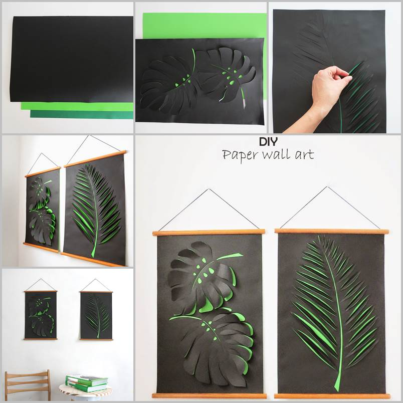Creative ideas diy paper leaf wall art for Art and craft for wall decoration